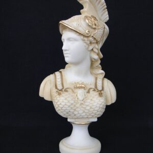 Athena profile view Bust statue in Patina color