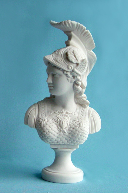 Athena profile view Bust statue in White color