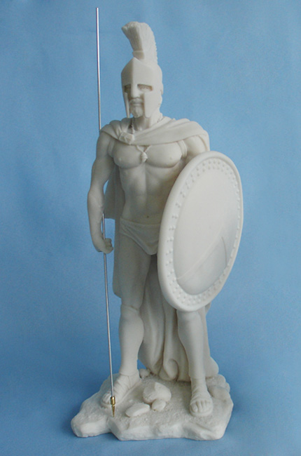 Leonidas with shield and spear pointing down in White color