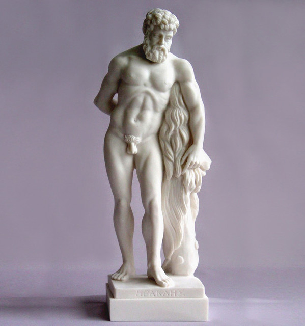 Hercules standing next to Nemea's dead Lion in White color
