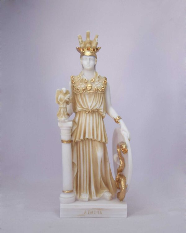 Athena standing statue in Patina color