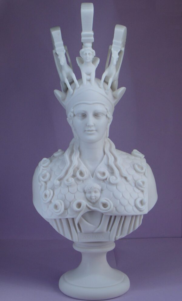 Bust of Athena in official costume in White color