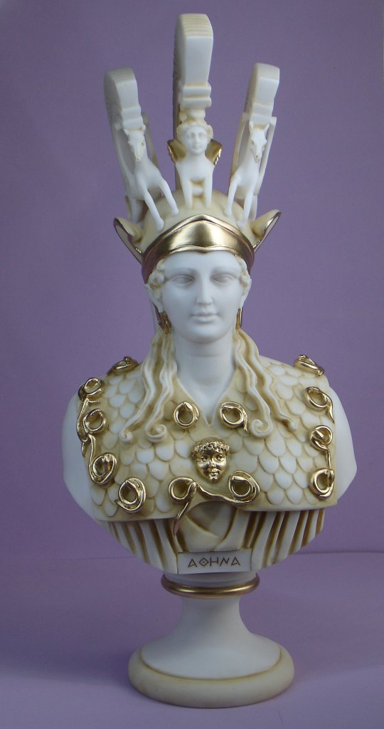 Bust of Athena in official costume in Patina color