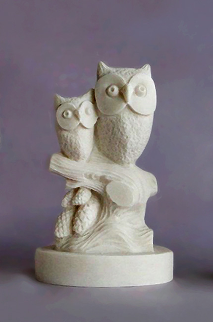 Two Owls (Mother and child) sitting on a tree branch in Patina color