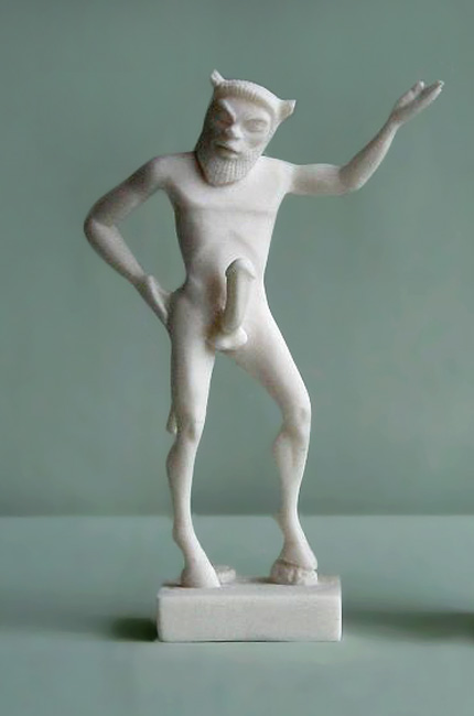 Statue of Satyr standing in White color
