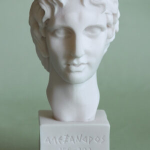 A small head statue of Alexander the Great in White color