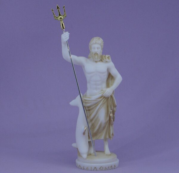 Poseidon standing with trident and dolphin in Patina color