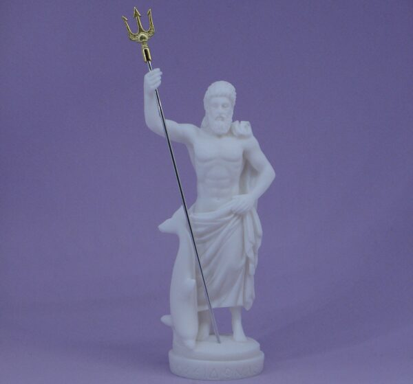 Poseidon standing with trident and dolphin in White color