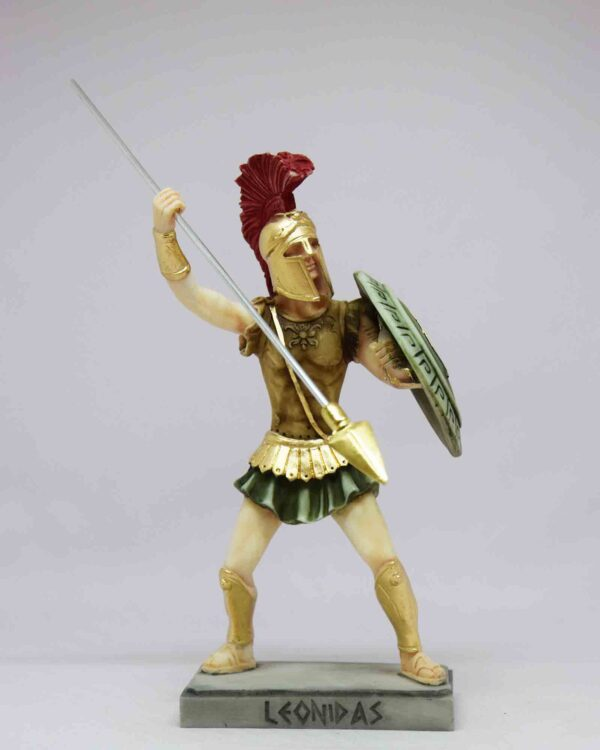 Leonidas statue in fighting position holding spear and shield in color