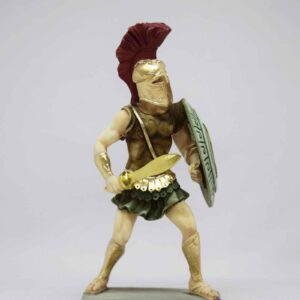 Spartan Warrior statue holding sword and shield in color