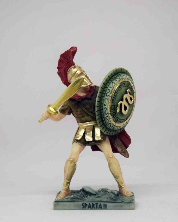 Spartan Warrior in defense holding sword and shield in color
