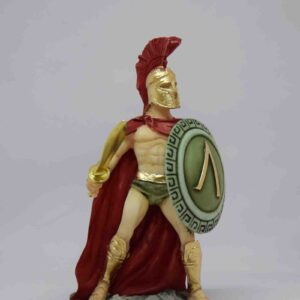 Leonidas statue in fighting position holding sword and shield in color
