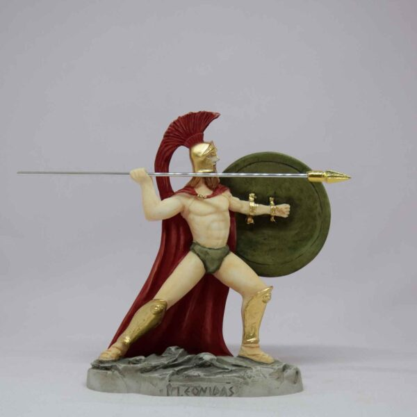 Leonidas statue ready to throw his spear in color
