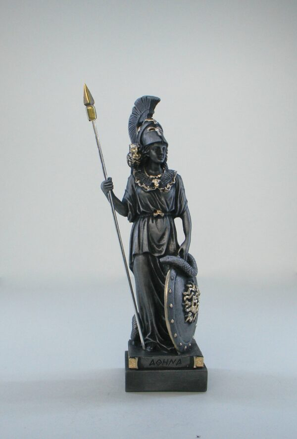 Athena statue standing and watching in Patina Black color