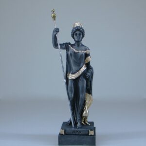 Hera statue standing and watching in Patina Black color