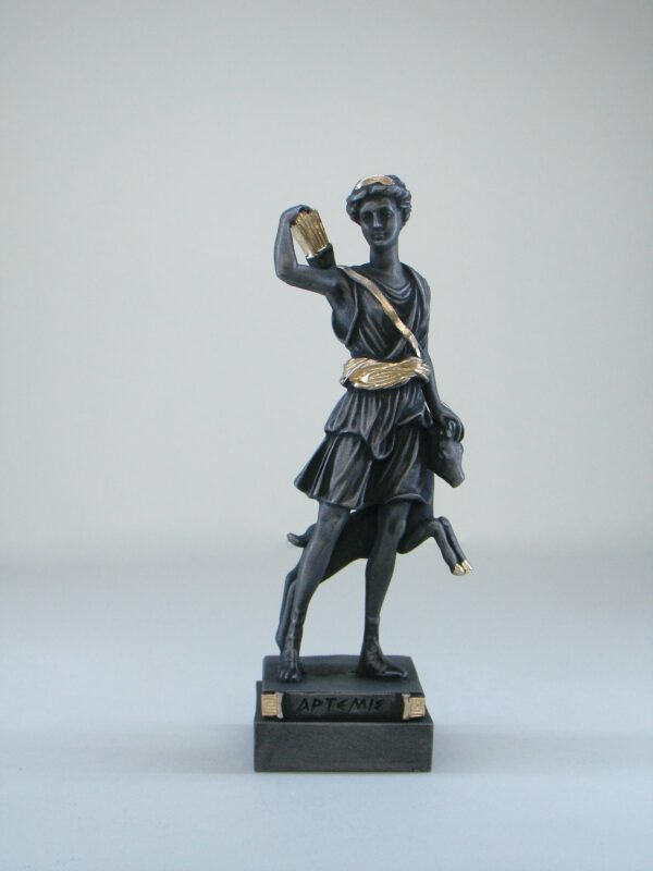 The statue of Artemis holding her bow, quiver and a young deer in Patina black color
