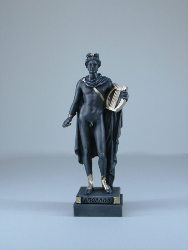 The statue of Apollo holds his lyre in Black Patina color