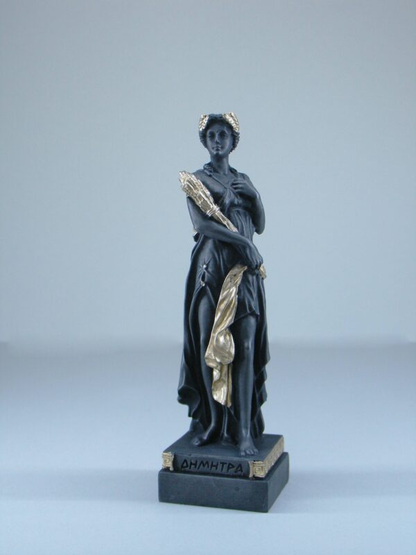 The statue of Demeter standing and holding wheat in Patina Black color