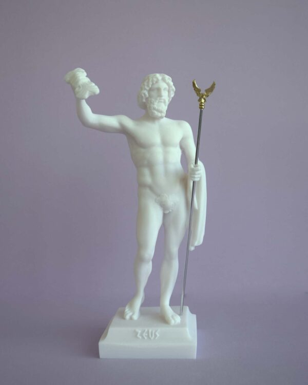 Zeus standing and holding his spear in White color