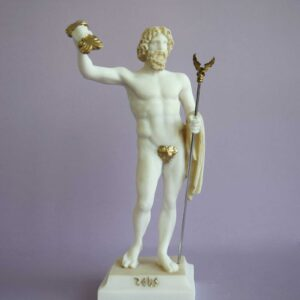 Zeus standing and holding his spear in Patina color