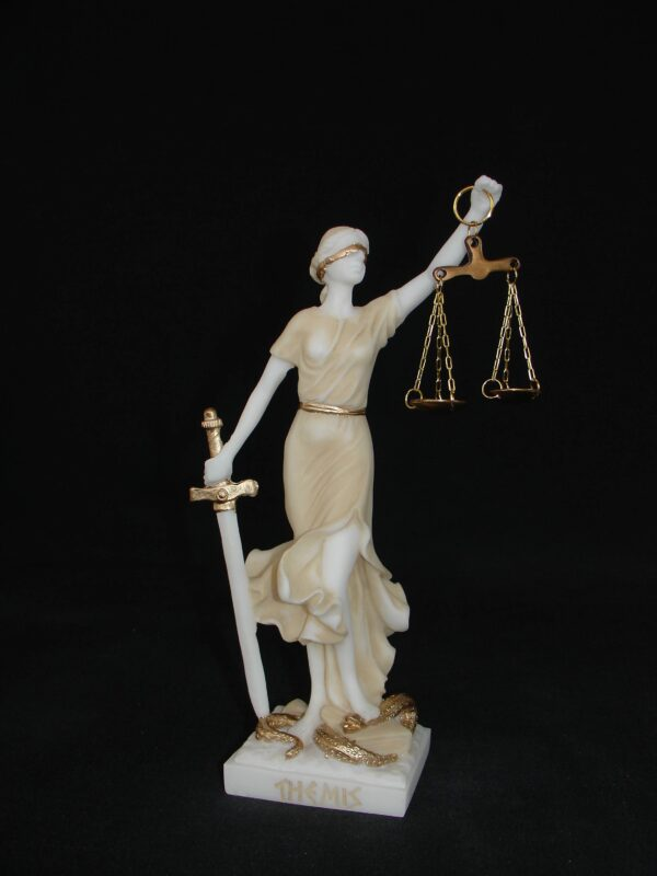 Statue of Themis Goddess of Justice with her name written in Latin characters in Patina color