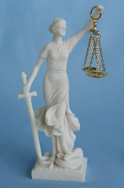 Statue of Themis Goddess of Justice with her name written in Latin characters in White color