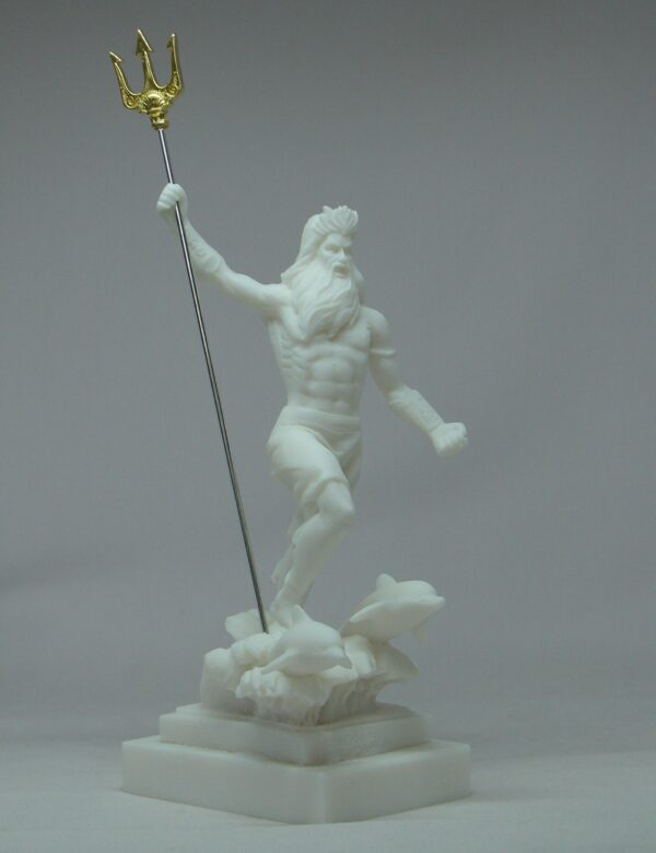 Poseidon with spear and dolphins in White color