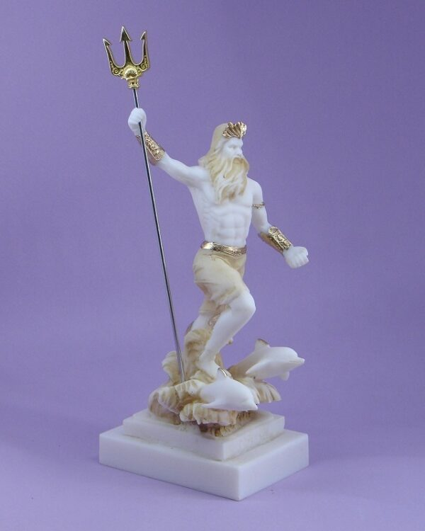 Poseidon with spear and dolphins in Patina color