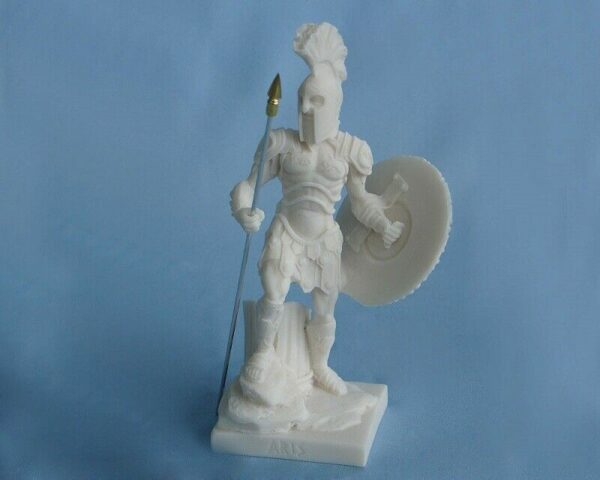 A classic statue of Ares standing with his spear and shield in White color