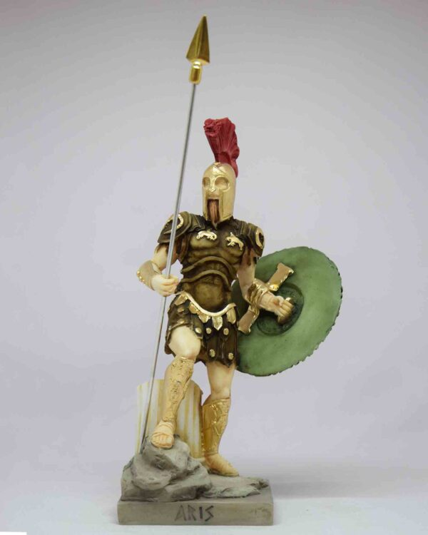 A classic statue of Ares standing with his spear and shield in color