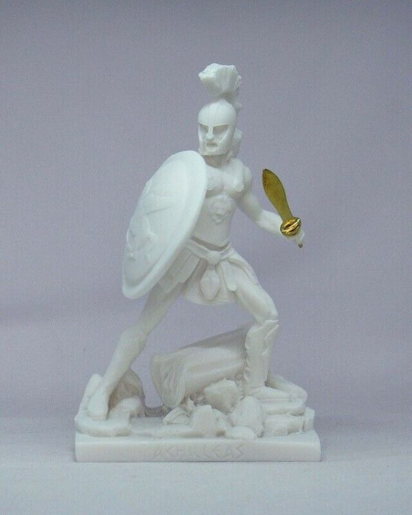 Achilles statue in fighting position in White color