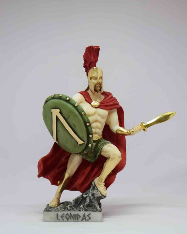 Leonidas running for fight with sword and shield in color