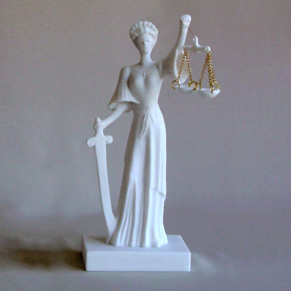 Themis Blind Goddess of Justice (Greek letters) in White color