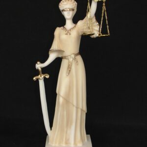 Themis Blind Goddess of Justice (Greek letters) in Patina color