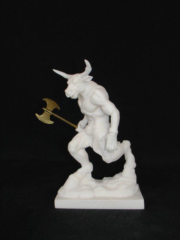 Τhe Minotaur statue holding a double-edged axe in White color
