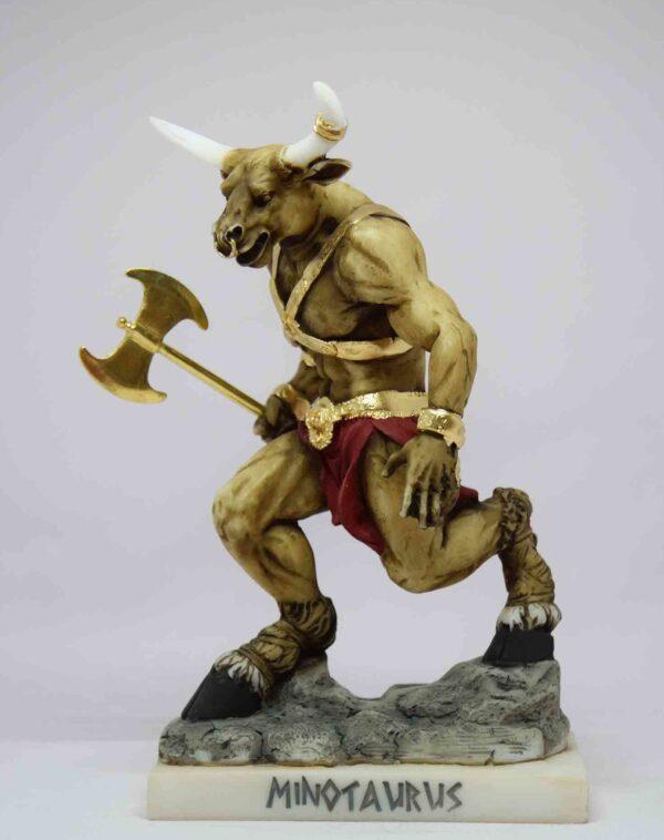 Τhe Minotaur statue holding a double-edged axe in color