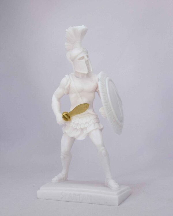 Spartan Warrior statue holding sword and shield in White color