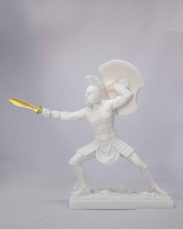 Achilles attacks with the sword in White color