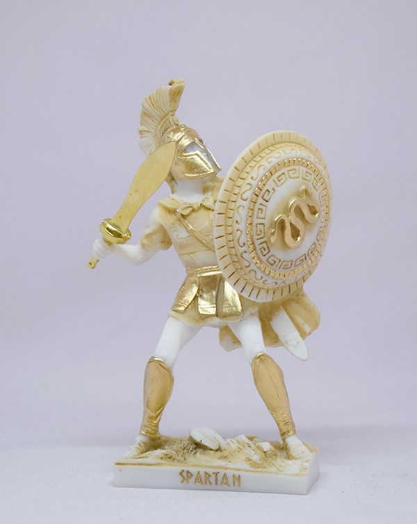 Spartan Warrior in defense holding sword and shield in Patina color
