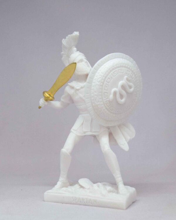 Spartan Warrior in defense holding sword and shield in White color