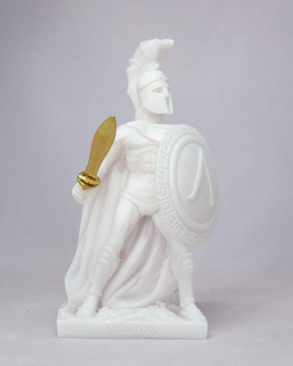 Leonidas statue in fighting position holding sword and shield in White color