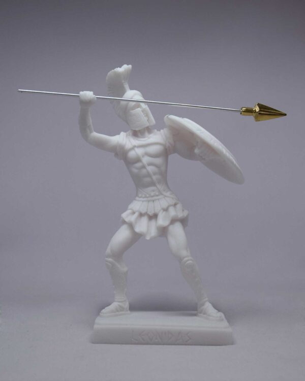 Leonidas statue in fighting position holding spear and shield in White color
