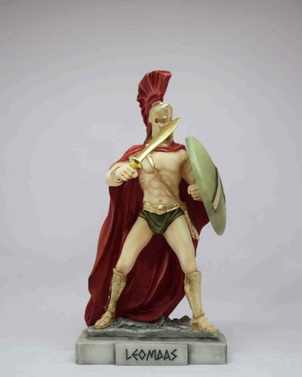 Leonidas in defense with shield and sword in color