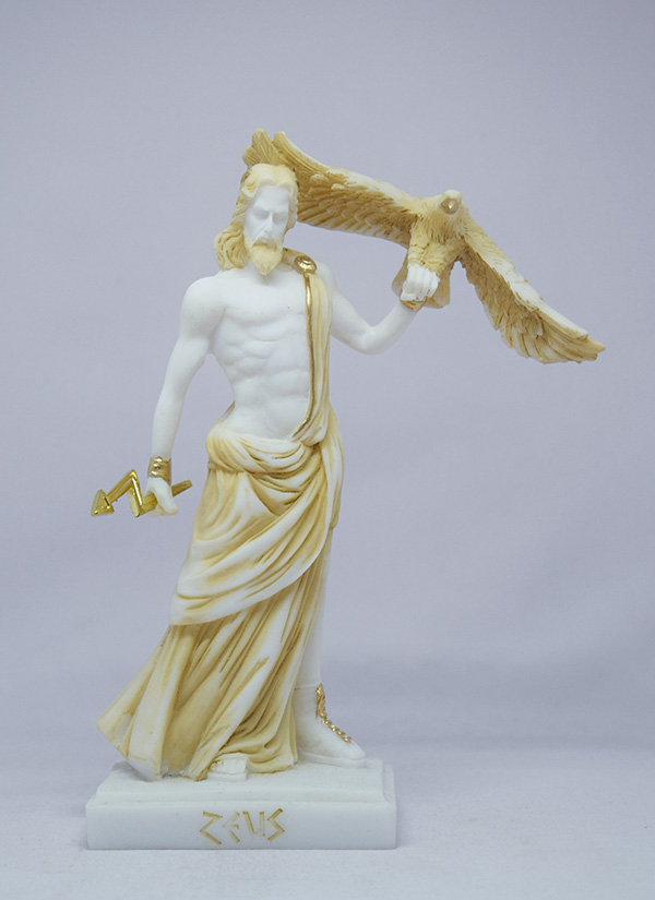 Zeus holding an eagle and thunder in standing position in Patina color