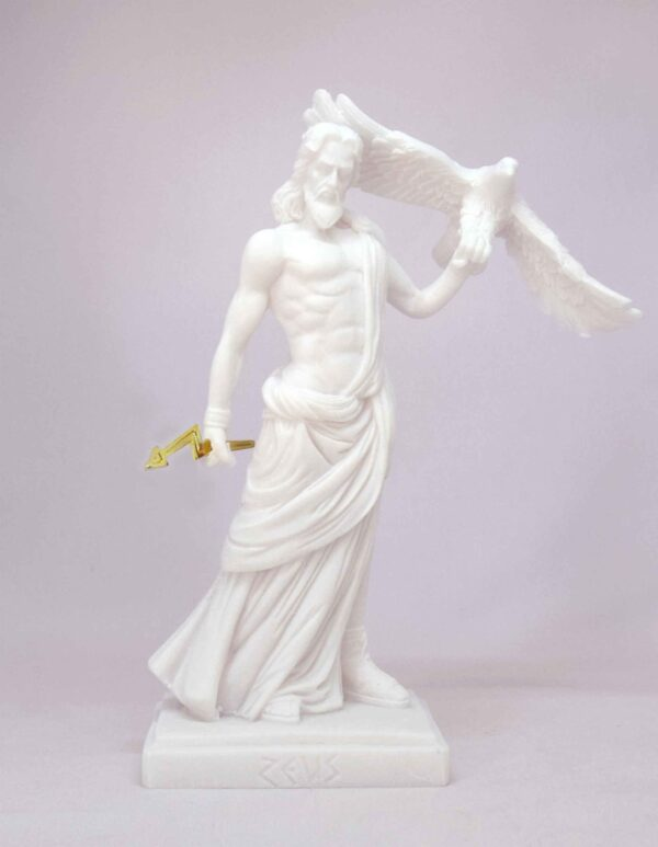 Zeus holding an eagle and thunder in standing position in White color