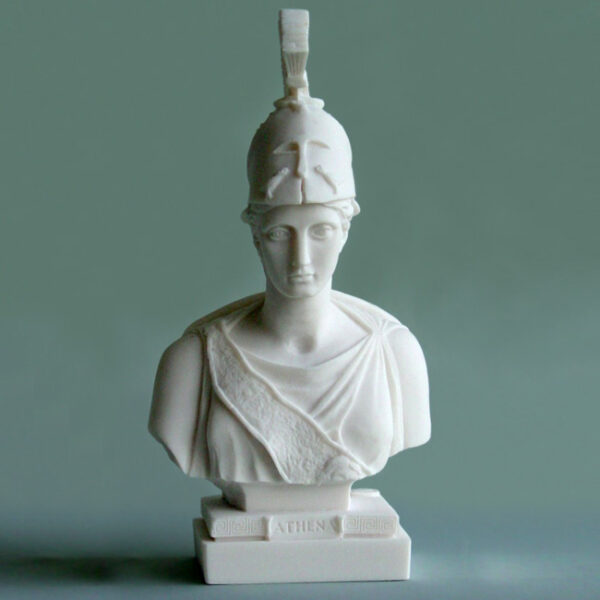 Athena front view Bust statue in White color