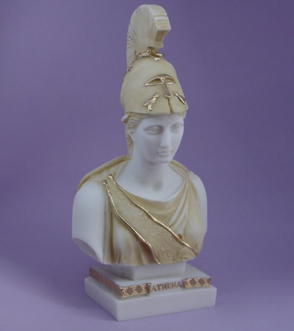 Athena front view Bust statue in Patina color