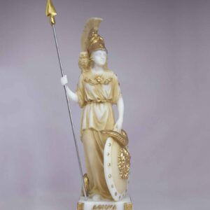 Athena statue standing and watching in Patina color