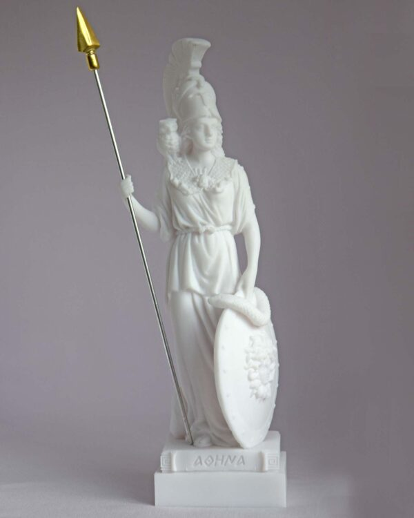 Athena statue standing and watching in White color