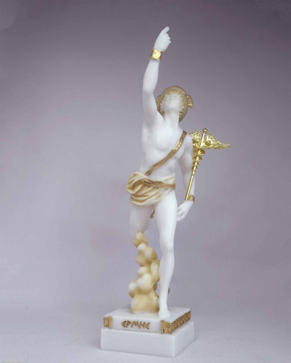 Hermes Olympic God made of Alabaster in Patina color